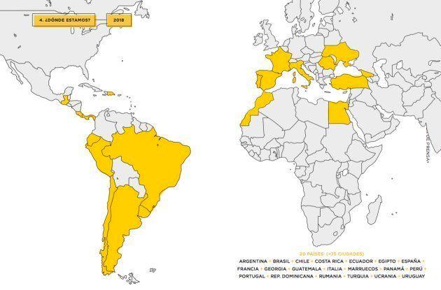 Mapa donde se puede ver la presencia de Glovo en el mundo en
