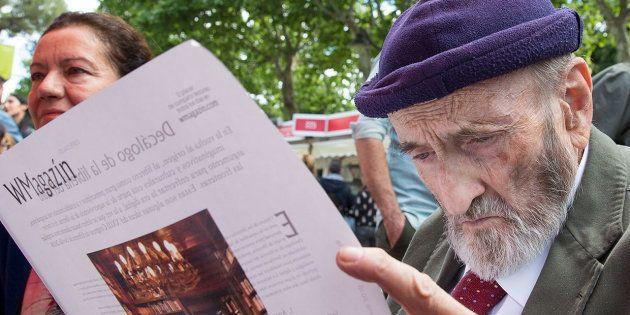 Álvaro Pombo en el acto de 'WMagazín' en la Feria del Libro de Madrid