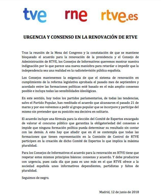 Los Consejos de Informativos de RTVE piden renovación urgente de la cúpula del ente