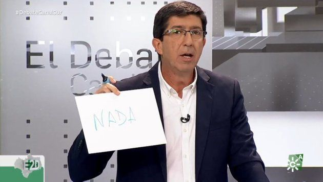 Juan Marín en el debate de candidatos para