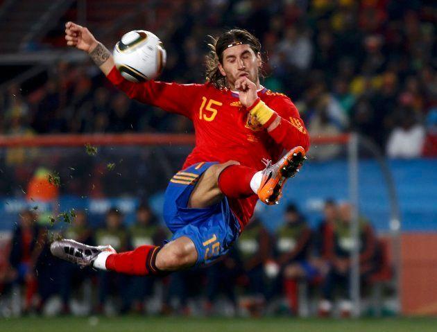 Sergio Ramos, en el partido contra Honduras del Mundial de Sudáfrica