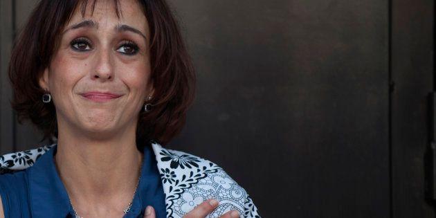 Juana Rivas, a su salida del juzgado de Granada, el pasado