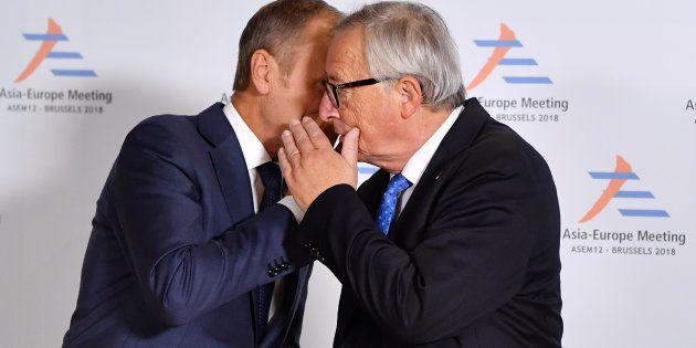 El presidente de la Comosión Europea, Jean-Claude Juncker, y el presidente del Consejo Europeo, Donald...