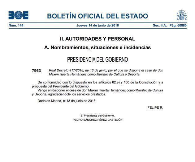 Captura de la publicación en el BOE del cese de