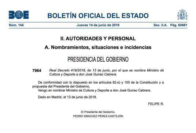 Nombramiento de José Guirao en el