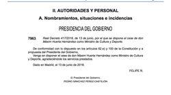 El BOE publica el cese de Màxim Huerta y el nombramiento de José Guirao como Ministro de Cultura y