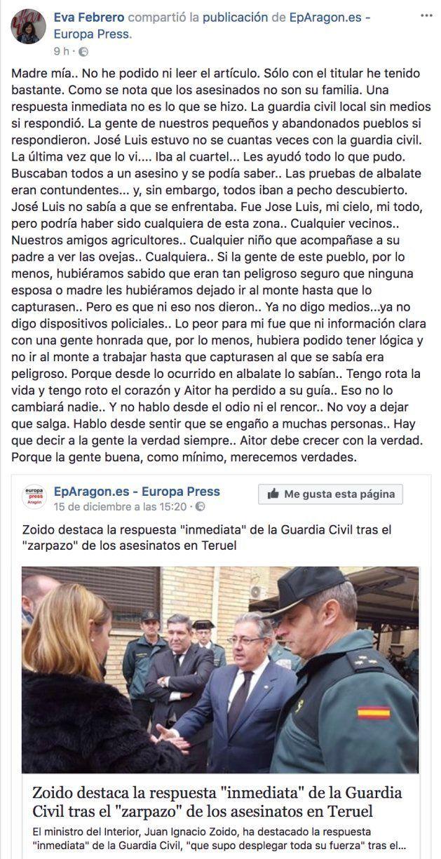 La viuda del ganadero de Teruel critica a Zoido por el despliegue de búsqueda de 'Igor el