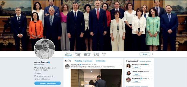 Captura del Twitter de Màxim Huerta tomada el 13 de junio a las 22:00