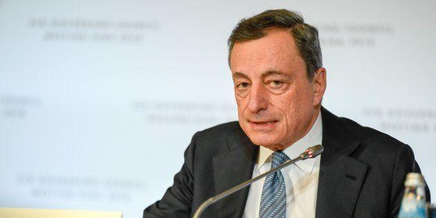 El presidente del Banco Central Europeo (BCE) Mario Draghi en una rueda de prensa en Riga
