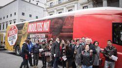 Un autobús de Ciudadanos con fotos de Junqueras y Puigdemont recorre Madrid en contra de los