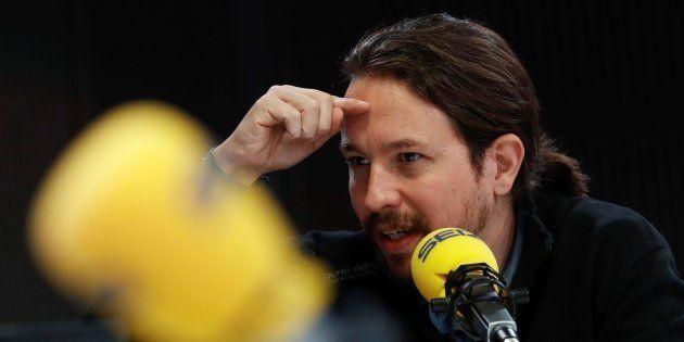 El secretario general de Podemos, Pablo Iglesias, el pasado lunes durante una entrevista en la Cadena