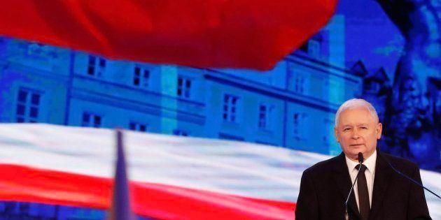 Jaroslaw Kaczynski, lider de Ley y Justicia, en un acto del partido el 2 de