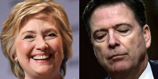 Combo con la excandidata demócrata Hillary Clinton (izq) y el exdirector del FBI James