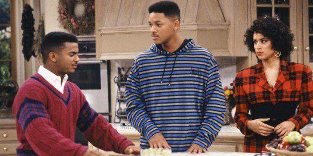 Carlton Banks (Alfonso Ribeiro), Will Smith (Will Smith) y Hilary Banks (Karyn Parsons), en un episodio...