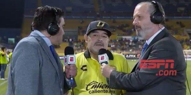 Maradona durante la entrevista con ESPN