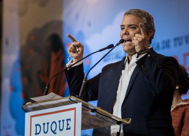 Duque durante su discurso de