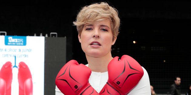 Tania Llasera en la presentación de una campaña contra el cáncer de pulmón, en noviembre de