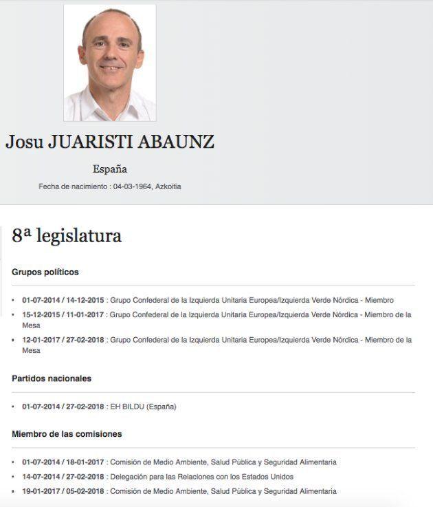 El exeurodiputado Josu Juaristi en la web del Parlamento
