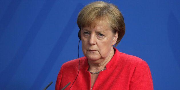Angela Merkel, durante la rueda de prensa que dio tras reunirse con Giuseppe Conte en Berlín el 18 de...
