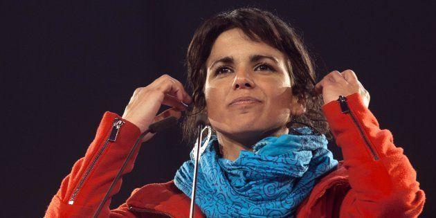Teresa Rodríguez, en un acto electoral en Dos Hermanas (Sevilla), en