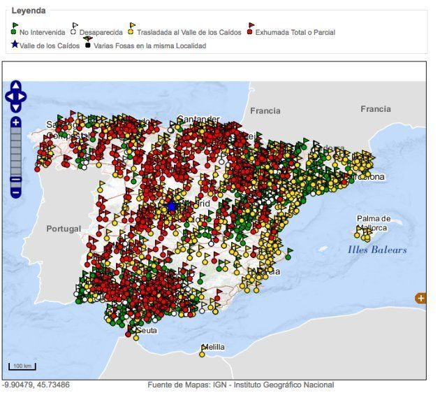 Mapa de fosas actualizado en la web del Ministerio de