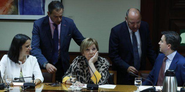 La presidenta de la Comisión del Pacto de Toledo, Celia Villalobos este martes en el
