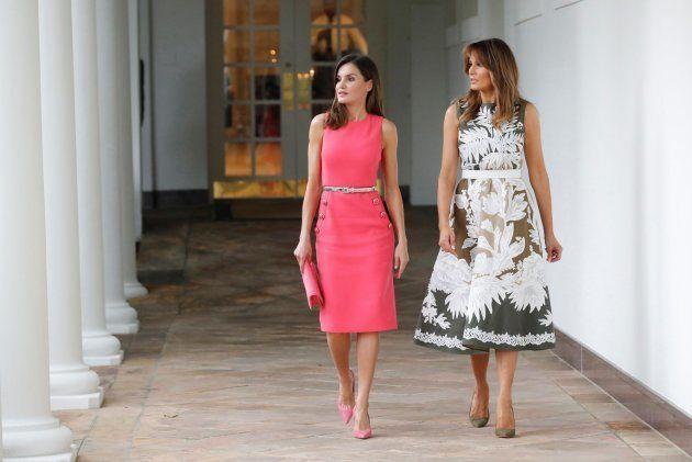 La reina Letizia, con un vestido idéntico a uno de Melania para el encuentro con los