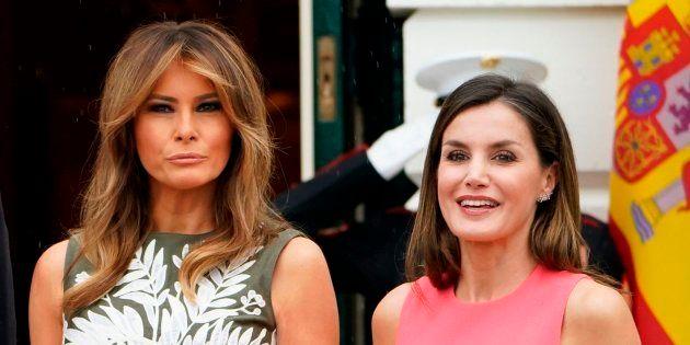 La primera dama de Estados Unidos, Melania Trump, con la reina Letizia en la Casa Blanca el 19 de junio...