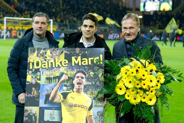 DORTMUND, GERMANY - MARCH 08: Marc Bartra, ex player of Borussia Dortmund, poses at his official farewell...