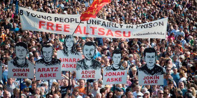 Manifestación en Pamplona, el pasado 16 de junio, pidiendo la libertad para los procesados de