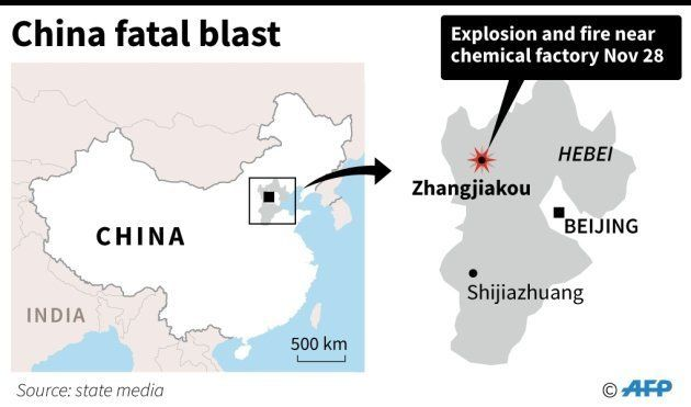 Map locating an explosion near a chemical plant that has killed at least 22 in Zhangjiakou, China on...