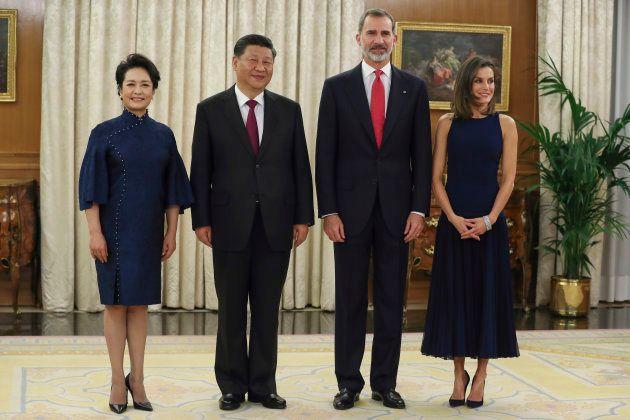 Los reyes, junto al presidente chino y su