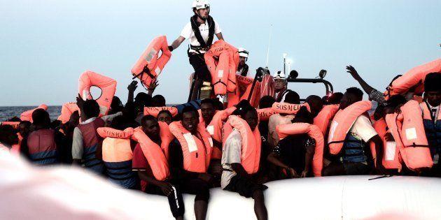 Migrantes rescatados por 'Aquarius' en el Mediterráneo (junio