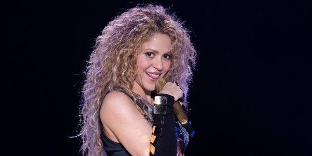 La cantante Shakira, durante el primer concierto de la gira El Dorado World Tour, el 3 de junio de 2018...
