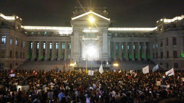 Imagen de una de las protestas frente al Palacio de Justicia de Lima el 28 de