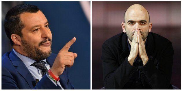 Combo con las imágenes de Salvini (izq) y Saviano