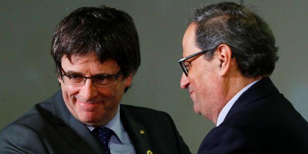 El expresident de la Generalitat, Carles Puigdemont, y su sucesor, Quim