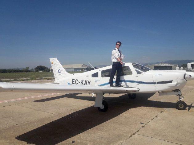 Armand Baucells antes de volar en la escuela de