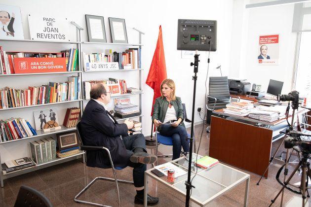 Miquel Iceta y Esther Palomera, durante la