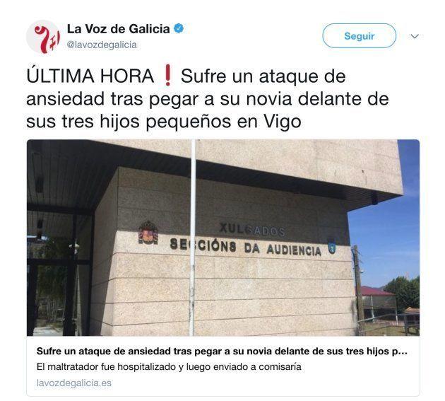 Críticas a 'La Voz de Galicia' por este titular sobre violencia