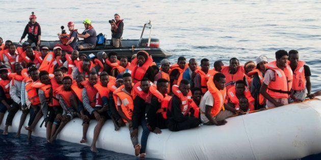 Uno de los grupos de inmigrantes rescatados por Mission