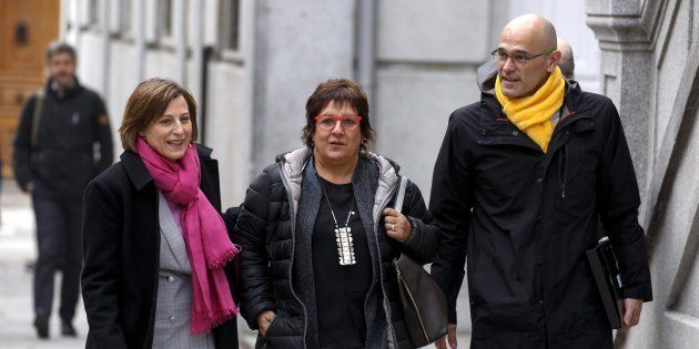 Carme Forcadell, Dolors Bassa y Raül Romeva, el pasado 23 de marzo a su llegada al Tribunal