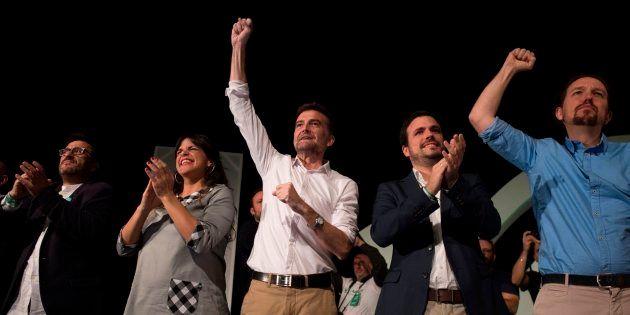 Teresa Rodríguez y Antonio Maíllo, en el cierre de campaña de Adelante