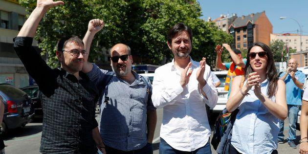 Los miembros de Podemos Irene Montero, Rafael Mayoral, Óscar Guardingo y Juan Carlos Monedero este