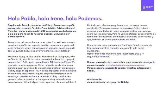 El jefe de Cabify replica a Iglesias y Montero: