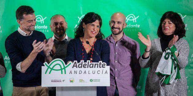 Teresa Rodríguez comparece tras conocerse los resultados de las elecciones al Parlamento de