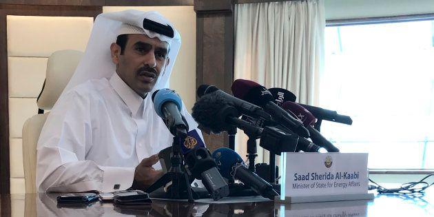 Saad Sherida Al-Kaabi, el ministro de energía de Qatar, durante su rueda de