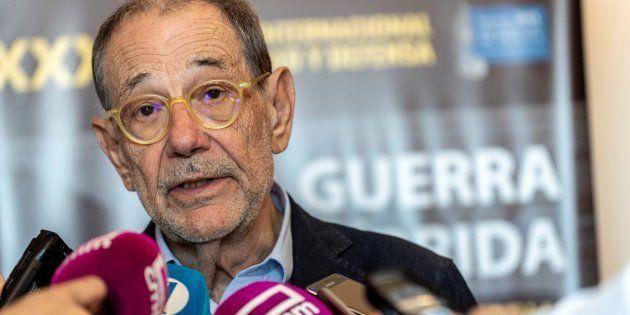 El exsecretario general de la OTAN, Javier Solana, el pasado 20 de junio tras una conferencia en
