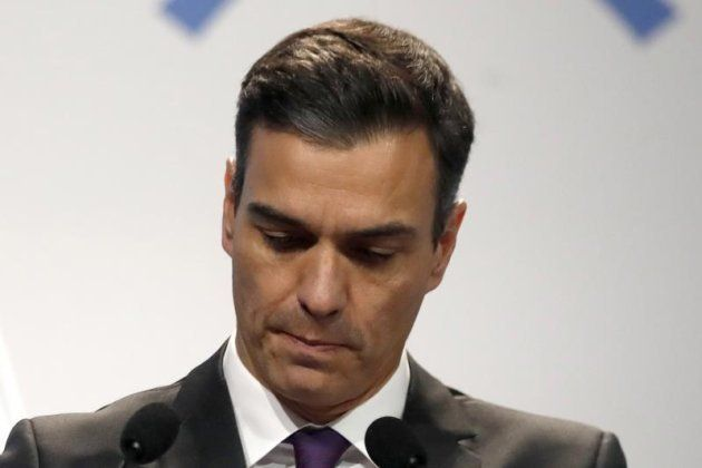 El presidente del Gobierno español, Pedro Sánchez, durante su intervención en la sesión inaugural de...