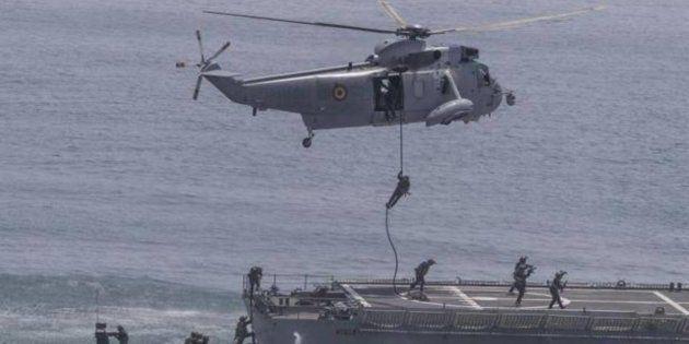 Ejercicio MILEX 18 en el portaaeronaves Juan Carlos I, en la Base Naval de Rota